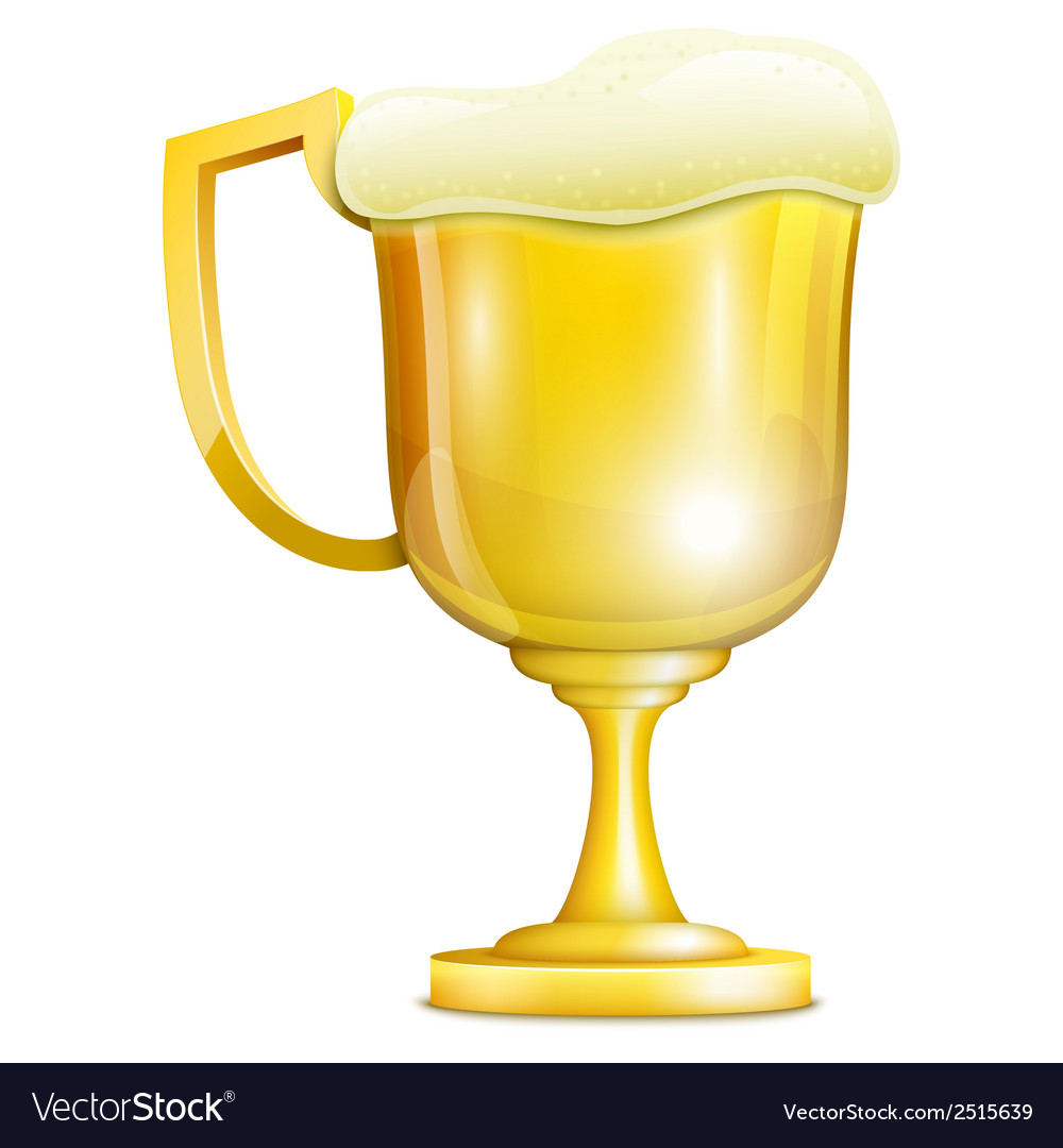 Beer with froth in golden mug vector | Price: 1 Credit (USD $1)