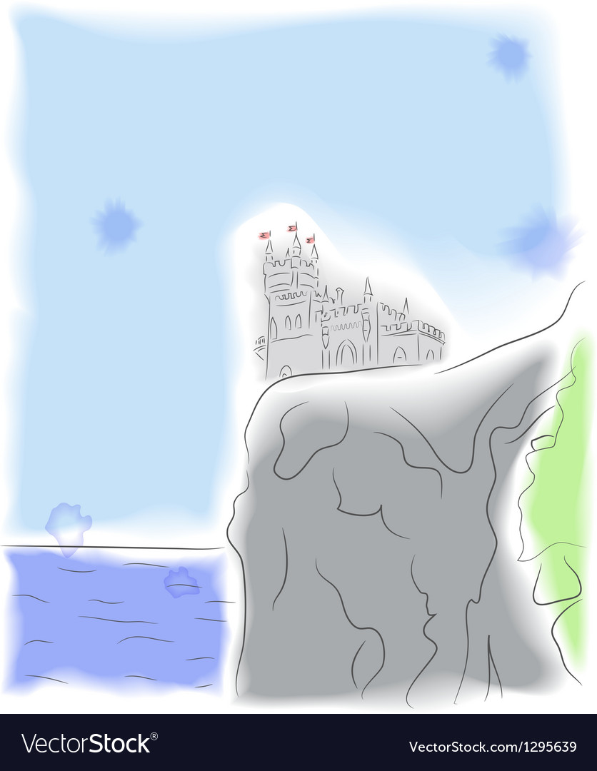 Castle on the cliff by the sea vector | Price: 1 Credit (USD $1)