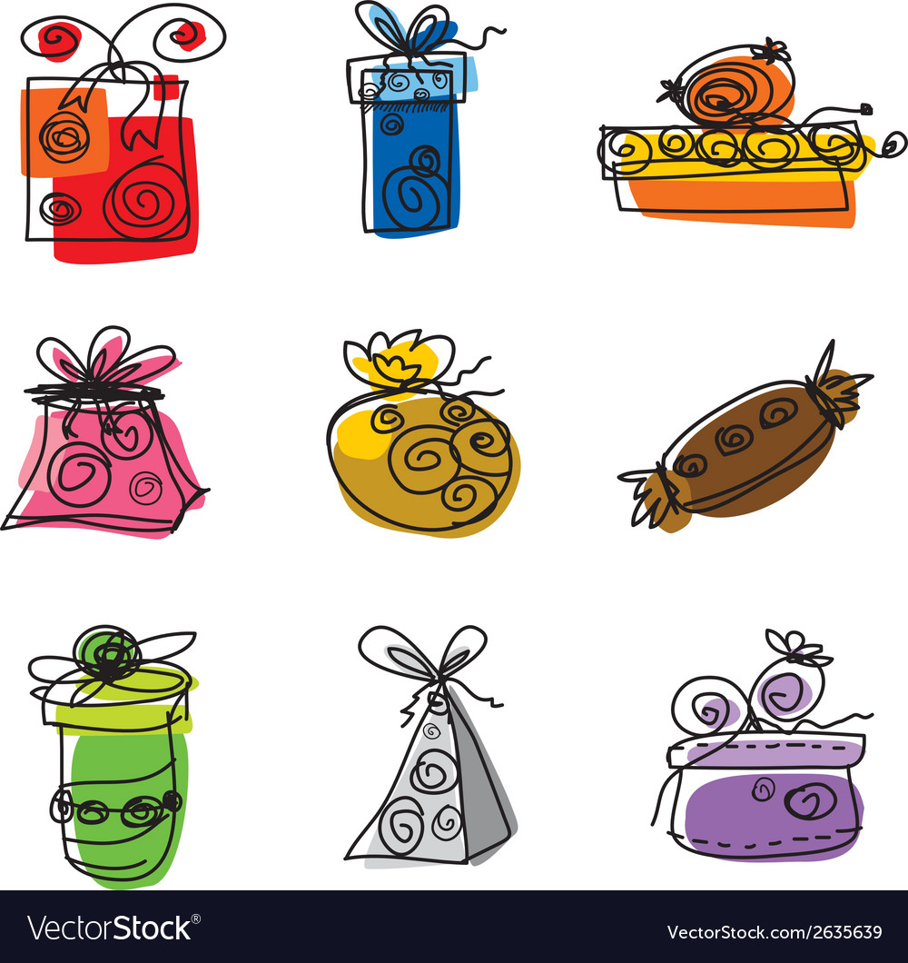Colorful gift boxes on white background vector | Price: 1 Credit (USD $1)