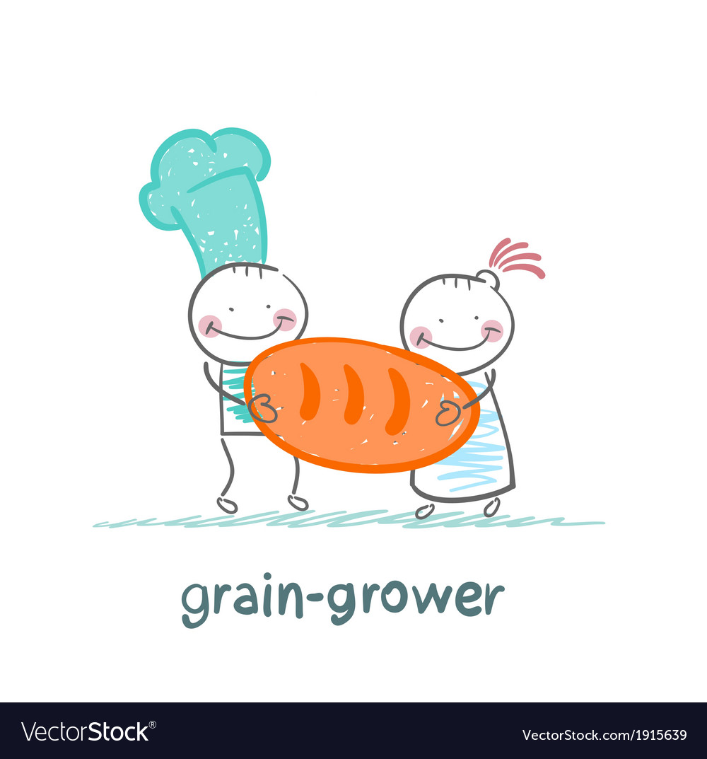 Grain grower holds a poster with bread vector | Price: 1 Credit (USD $1)