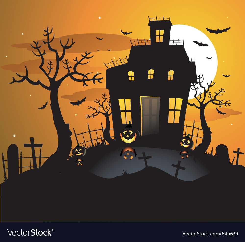 Haunted house background vector | Price: 1 Credit (USD $1)