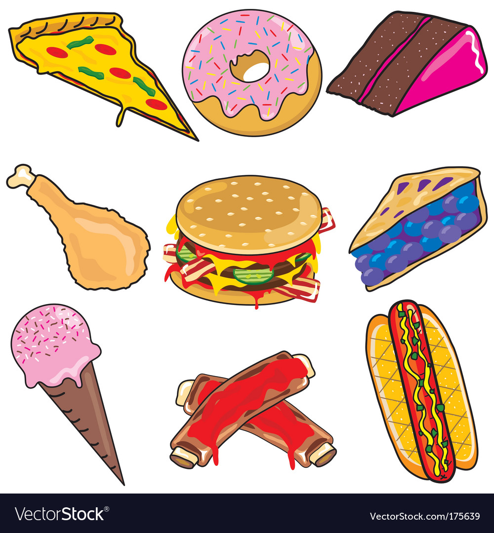 Junk food elements and icons vector | Price: 3 Credit (USD $3)