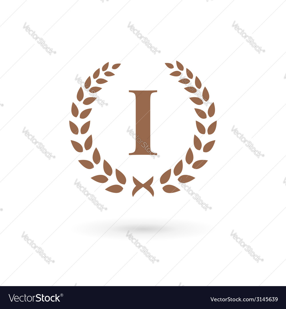Letter i number one 1 laurel wreath logo icon vector | Price: 1 Credit (USD $1)