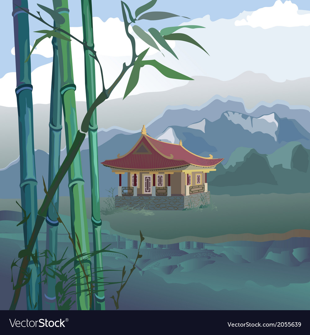 Pagoda at the river vector | Price: 1 Credit (USD $1)