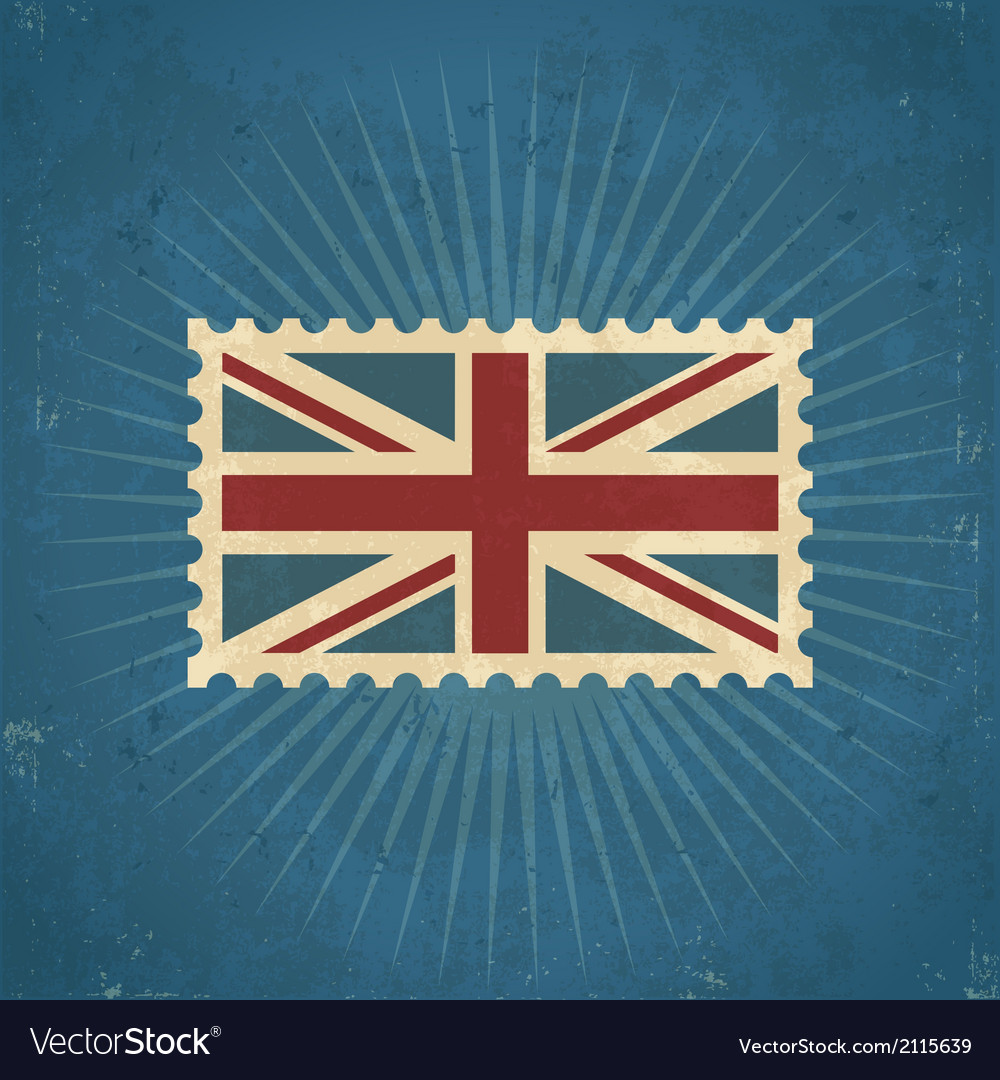 Retro united kingdom flag postage stamp vector | Price: 1 Credit (USD $1)