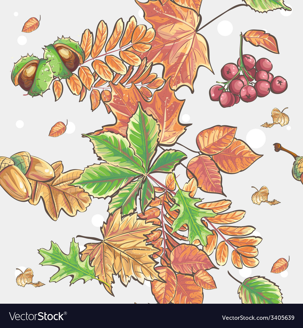 Seamless autumnal pattern with leaves chestnuts vector | Price: 1 Credit (USD $1)