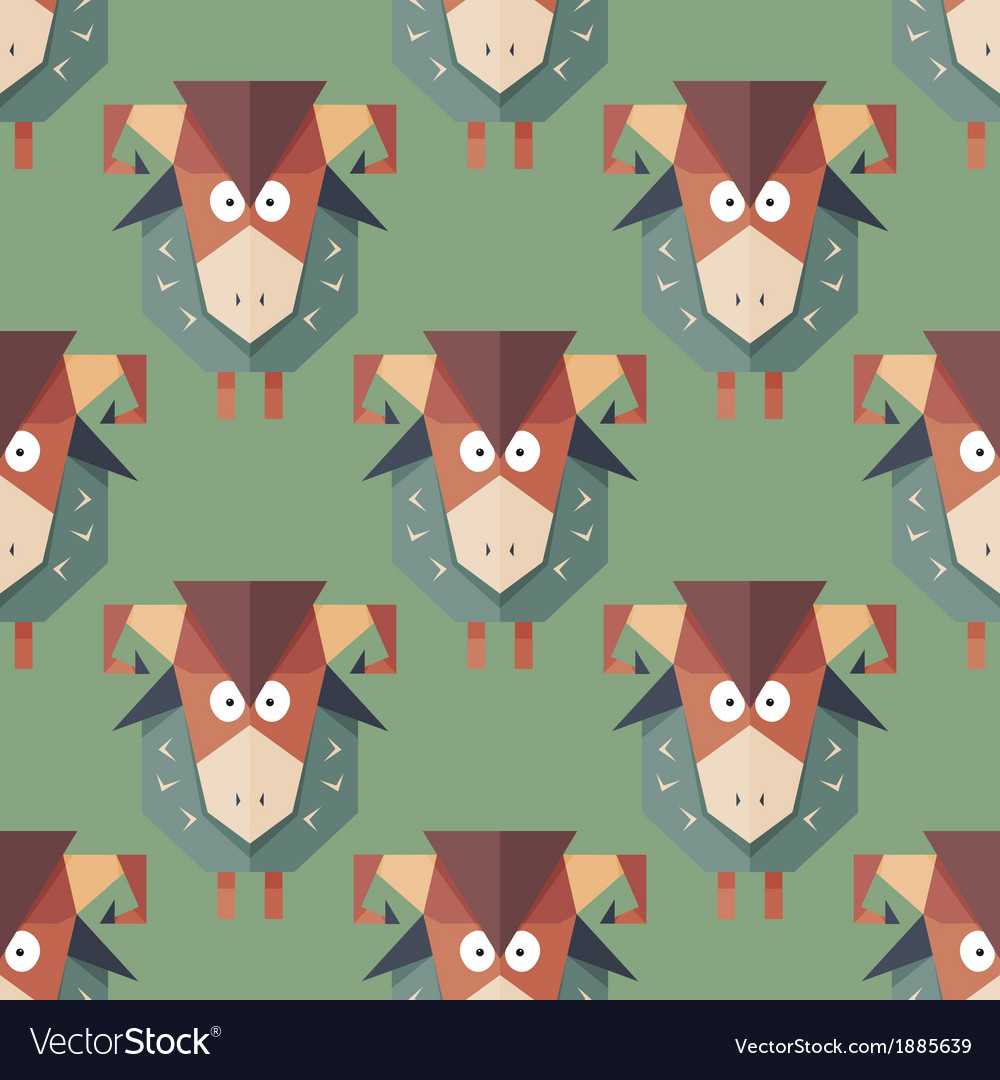 Seamless pattern of cartoon funny sheeps vector | Price: 1 Credit (USD $1)