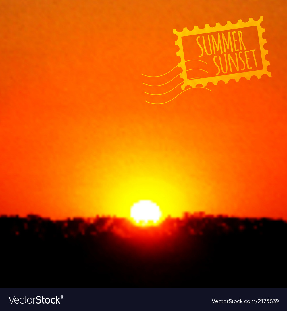 Summer sunset realistic background vector | Price: 1 Credit (USD $1)