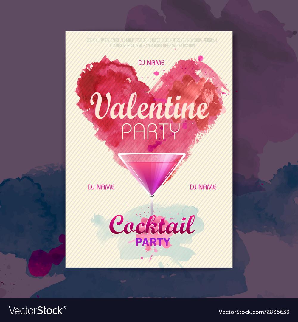 Valentine disco poster valentine background vector | Price: 1 Credit (USD $1)