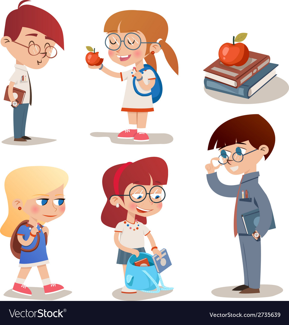 Vintage style characters school children set vector | Price: 1 Credit (USD $1)