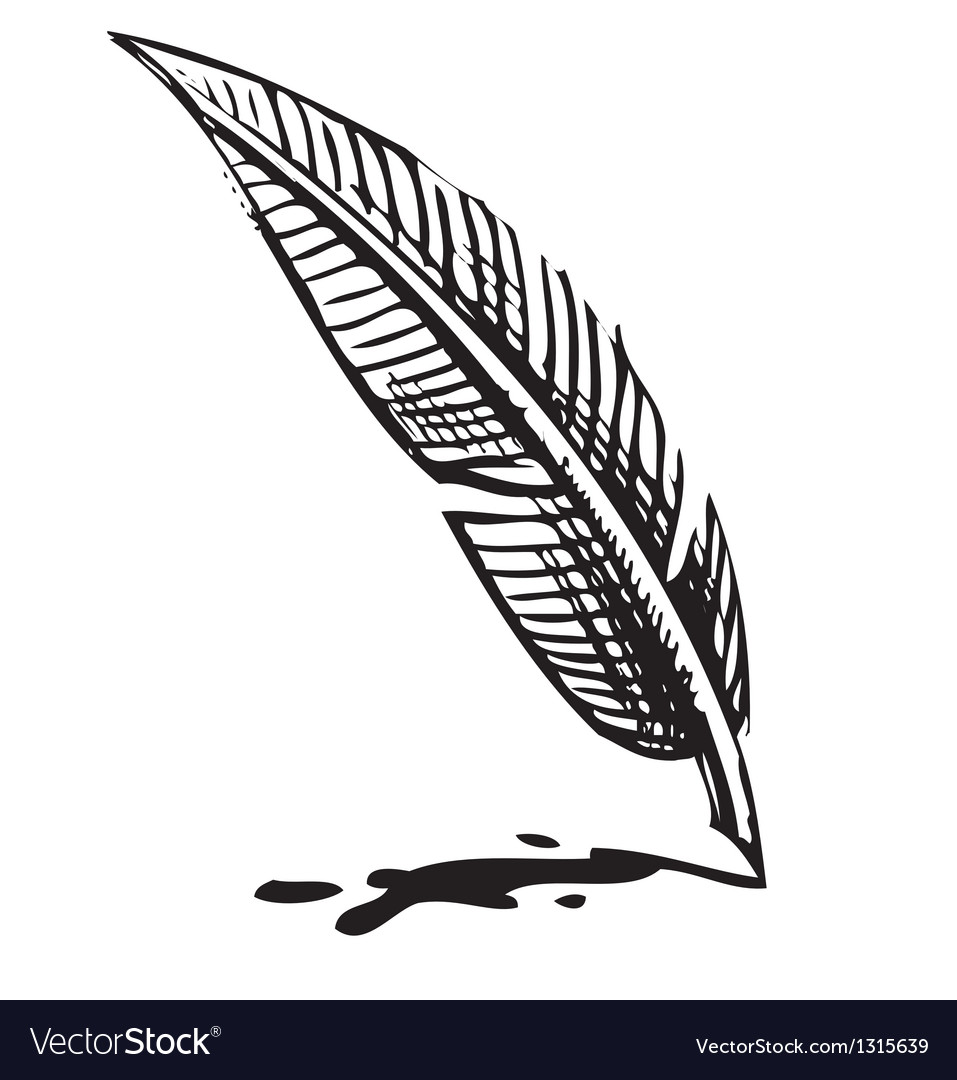 Writing quill with ink blot vector   Price: 1 Credit (USD $1)