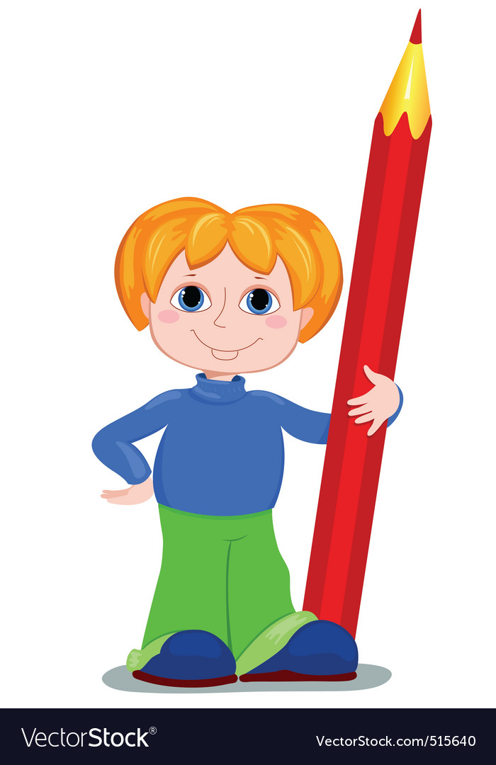 Boy and redpencil vector | Price: 1 Credit (USD $1)