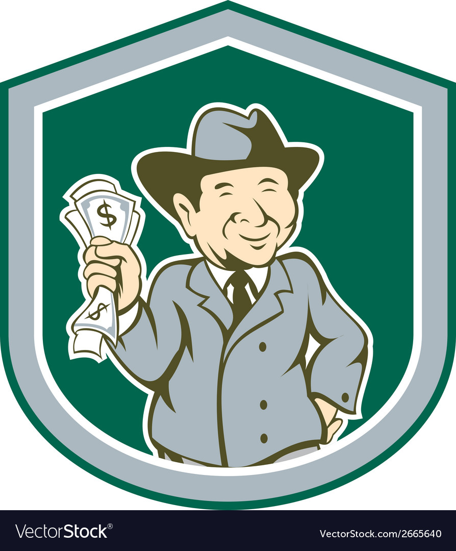 Businessman rich man money shield cartoon vector | Price: 1 Credit (USD $1)