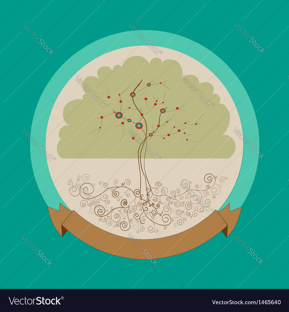 Curly bright tree label vector | Price: 1 Credit (USD $1)
