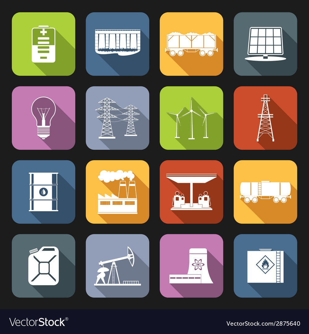 Energy icons flat set vector | Price: 1 Credit (USD $1)