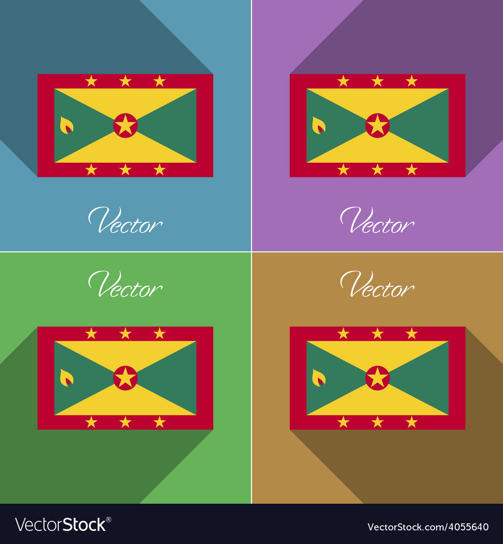 Flags grenada set of colors flat design and long vector   Price: 1 Credit (USD $1)