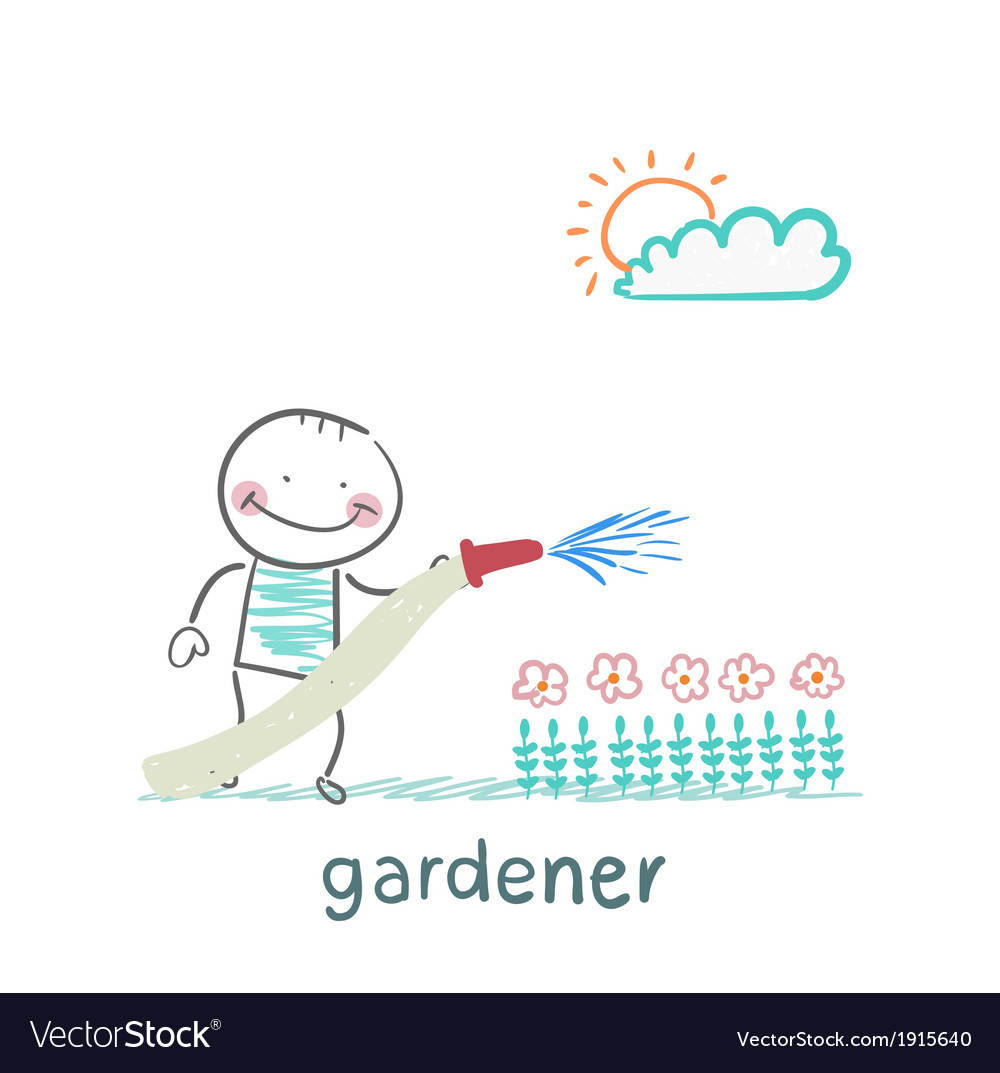 Gardener waters the flowers vector | Price: 1 Credit (USD $1)