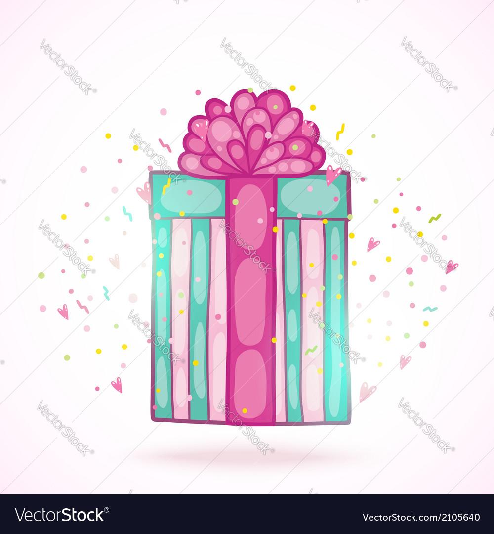 Happy birthday present gift box with confetti vector | Price: 1 Credit (USD $1)