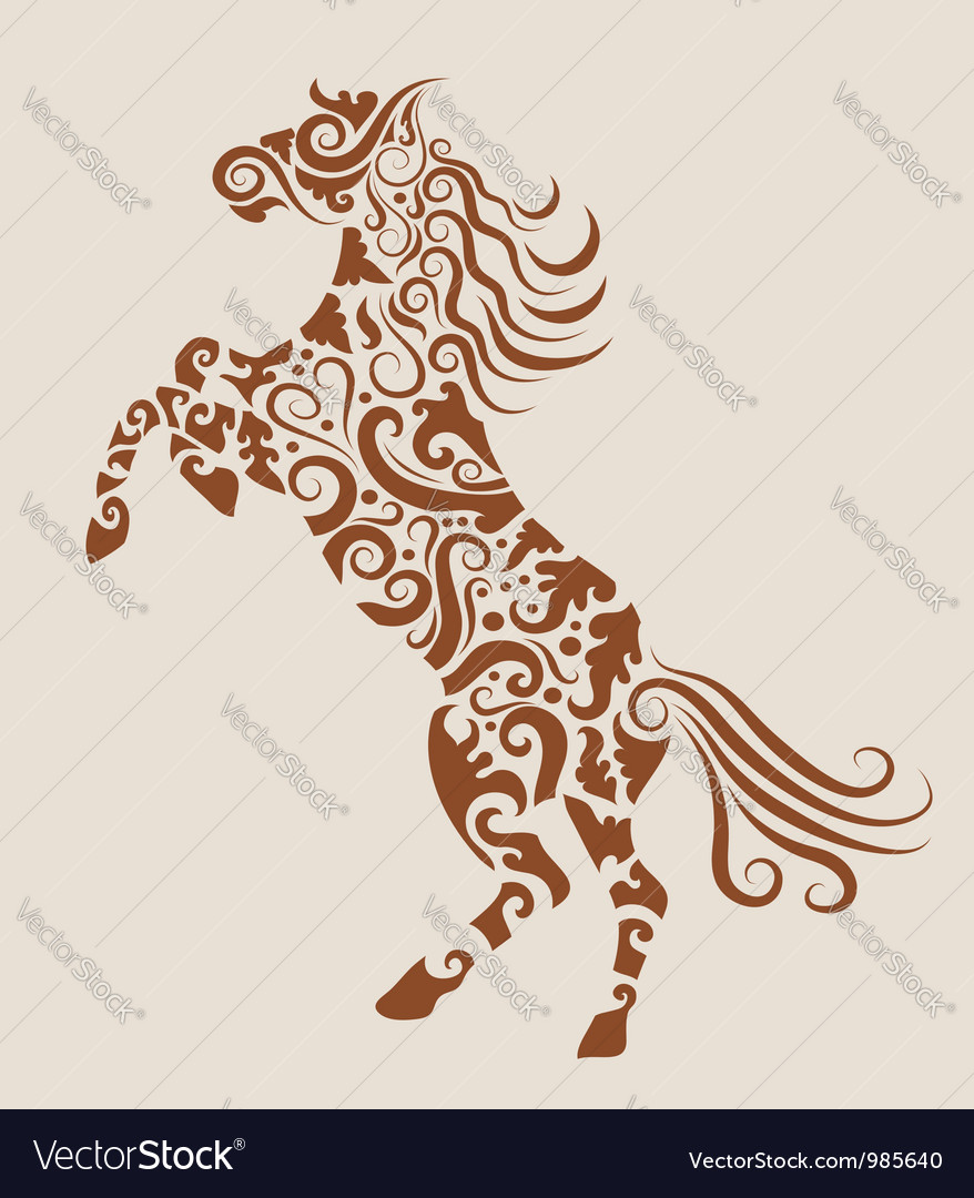 Horse floral ornament vector | Price: 1 Credit (USD $1)