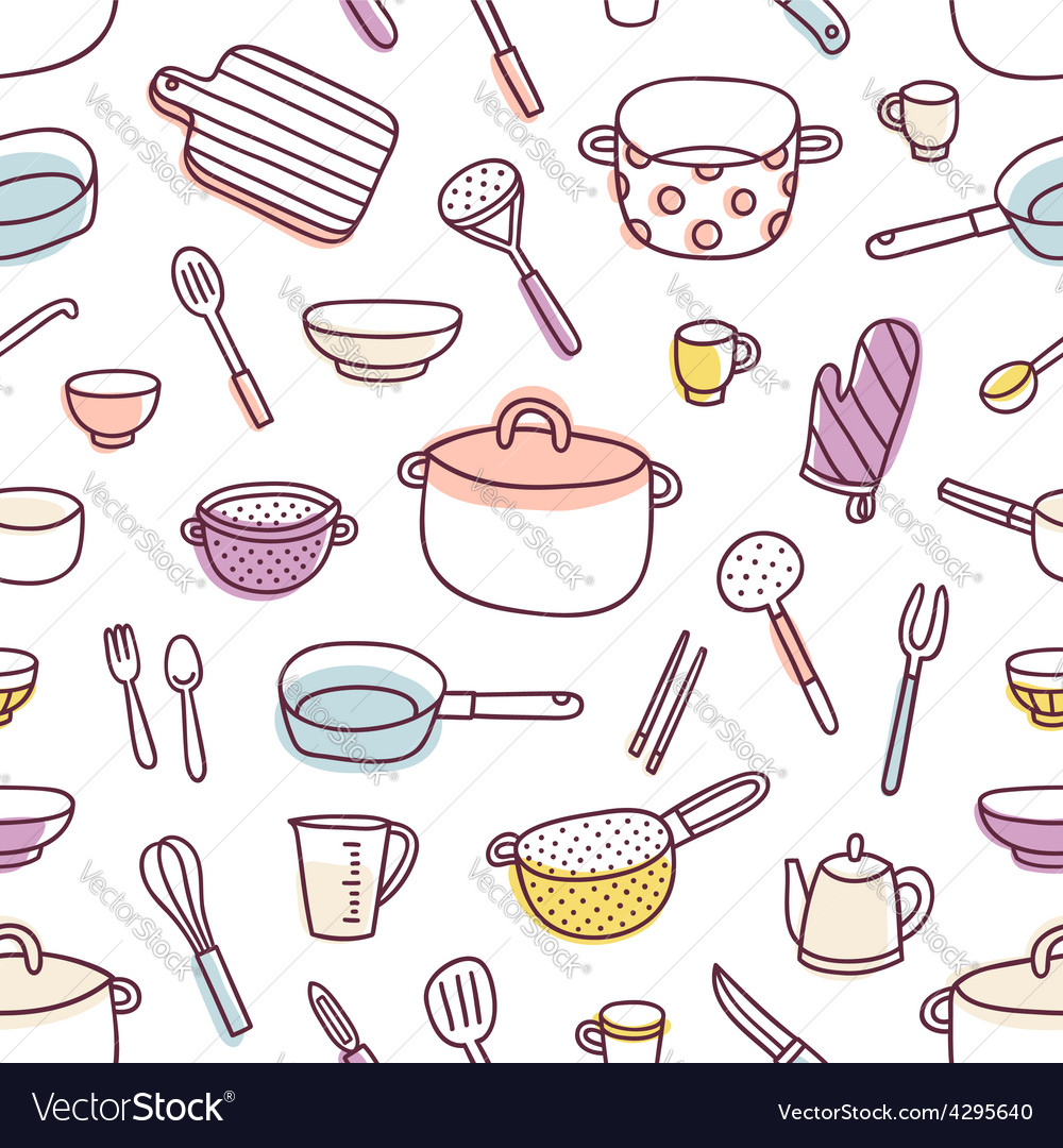 Kitchenware and cooking utensils seamless pattern vector | Price: 1 Credit (USD $1)