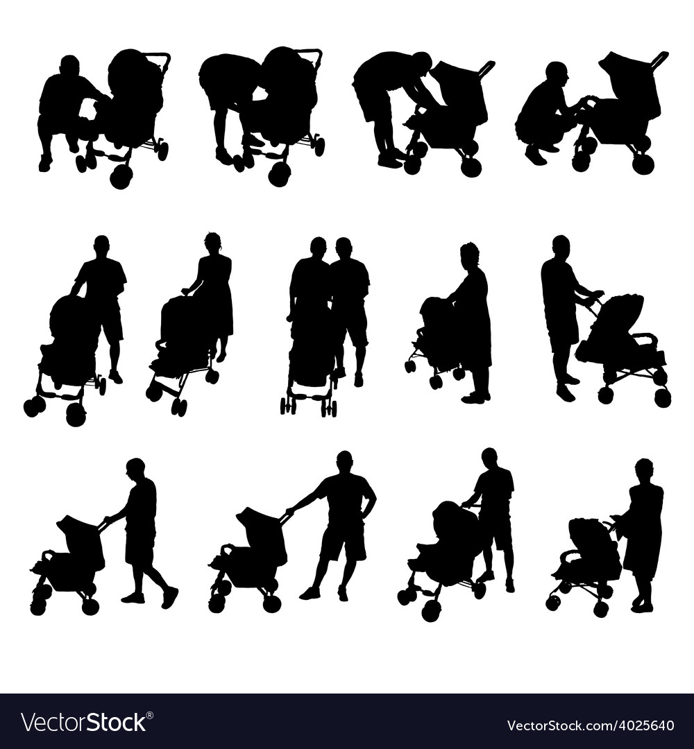 Mother and father with baby stroller silhouette vector | Price: 1 Credit (USD $1)