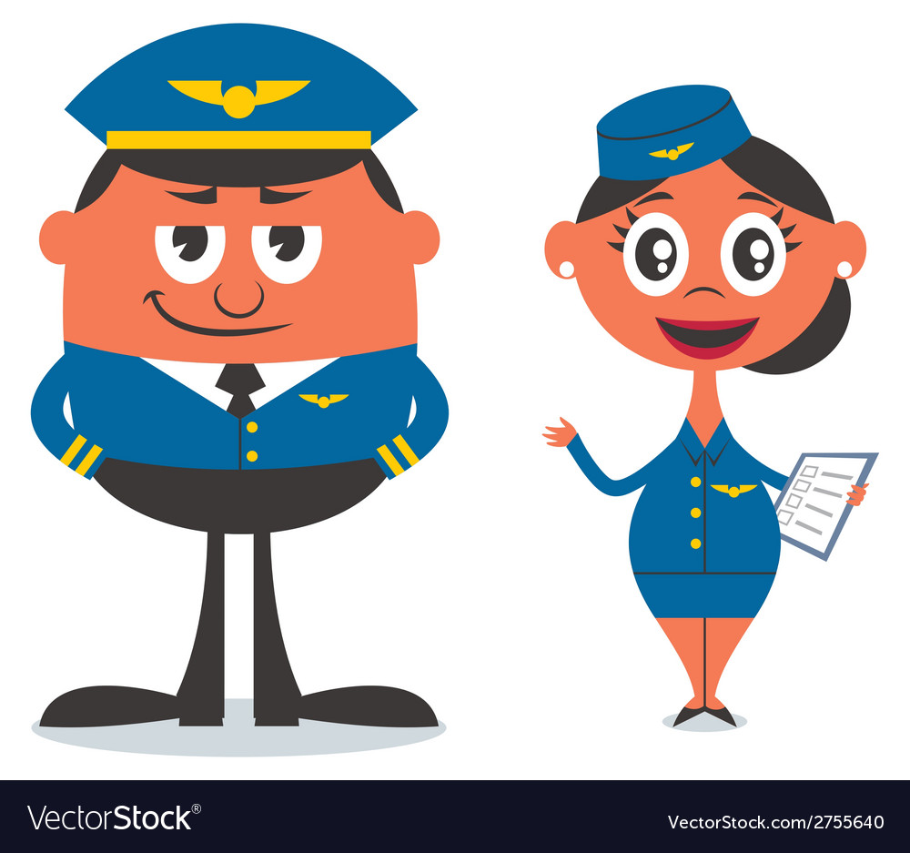 Pilot and air hostess vector | Price: 1 Credit (USD $1)