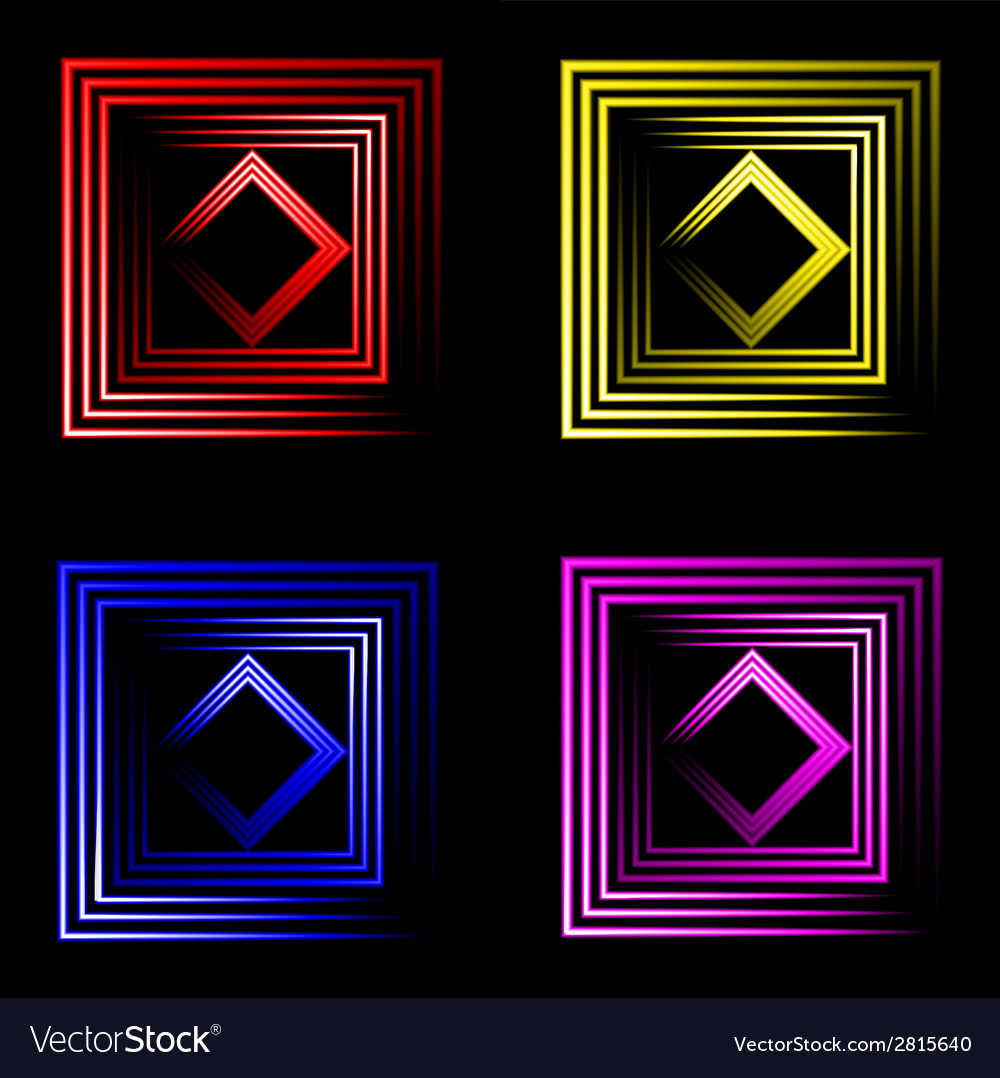 Set of multicolored neon square background with vector | Price: 1 Credit (USD $1)