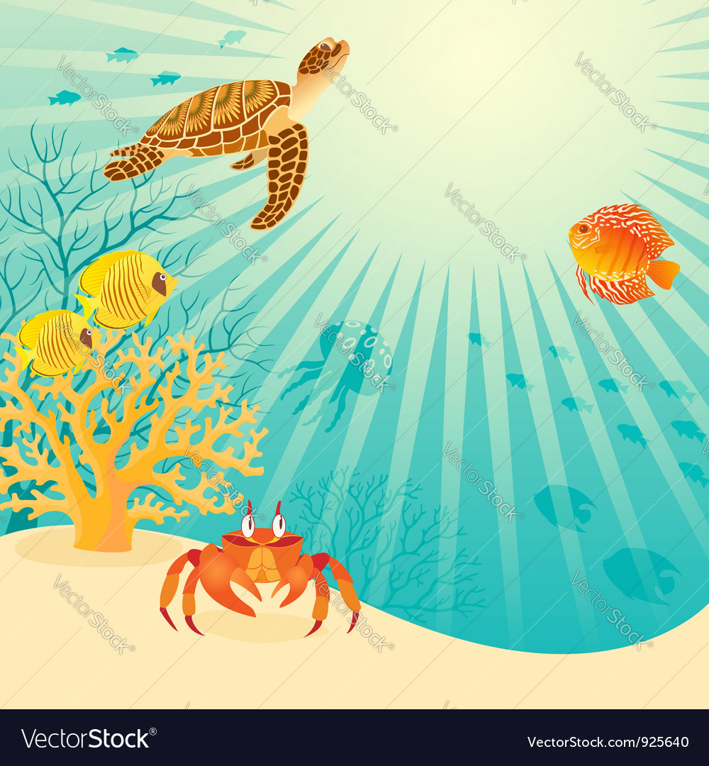 Sunny underwater life vector | Price: 3 Credit (USD $3)