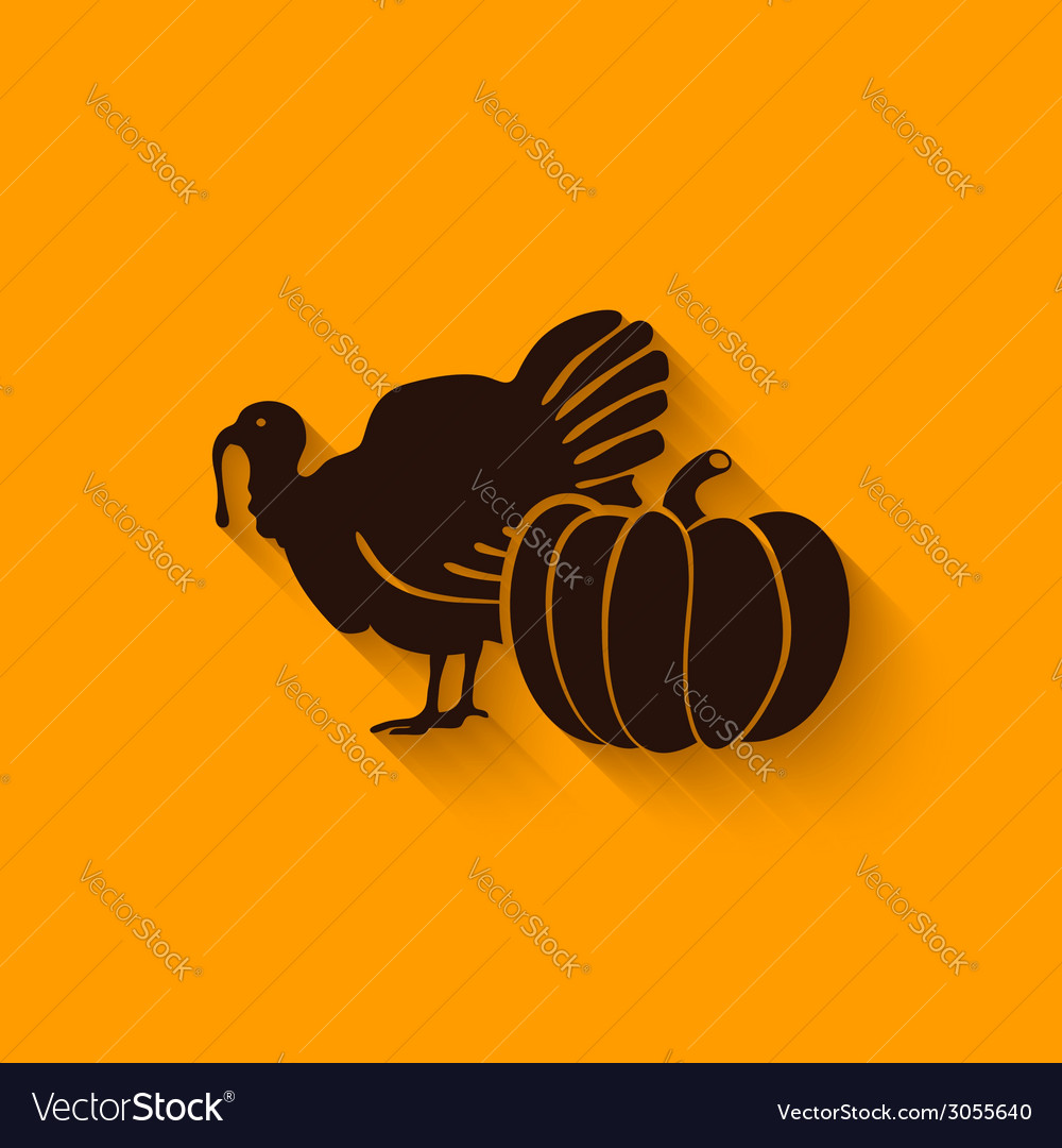 Thanksgiving symbols turkey and pumpkin vector | Price: 1 Credit (USD $1)