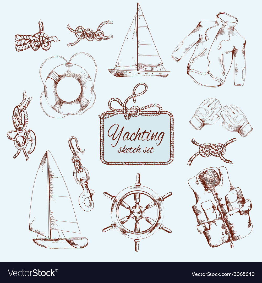 Yachting sketch set vector | Price: 1 Credit (USD $1)