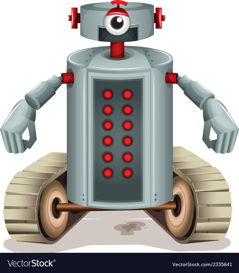 A robot with red buttons vector   Price: 1 Credit (USD $1)