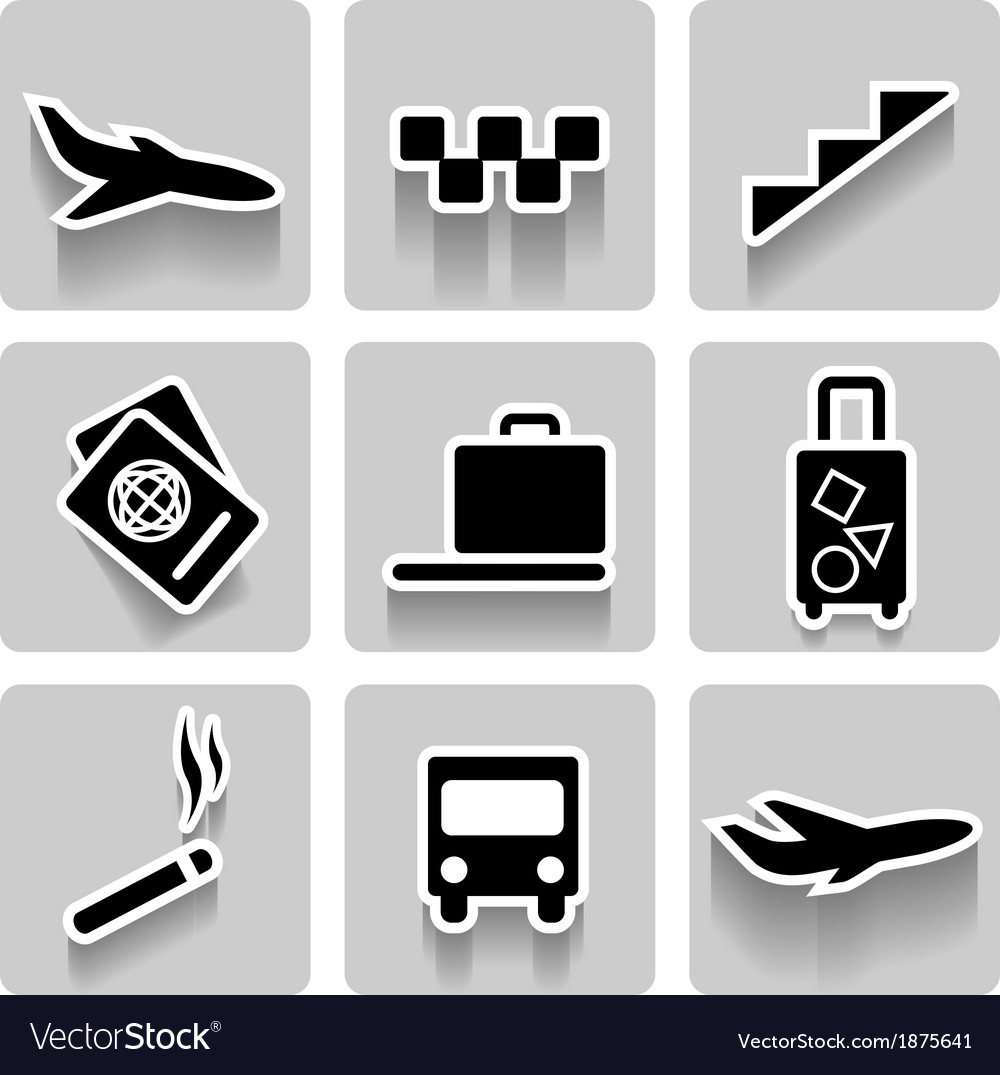 Airport icons collection vector | Price: 1 Credit (USD $1)