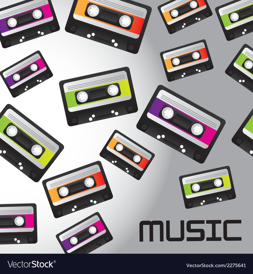 Cassette tape background vector | Price: 1 Credit (USD $1)