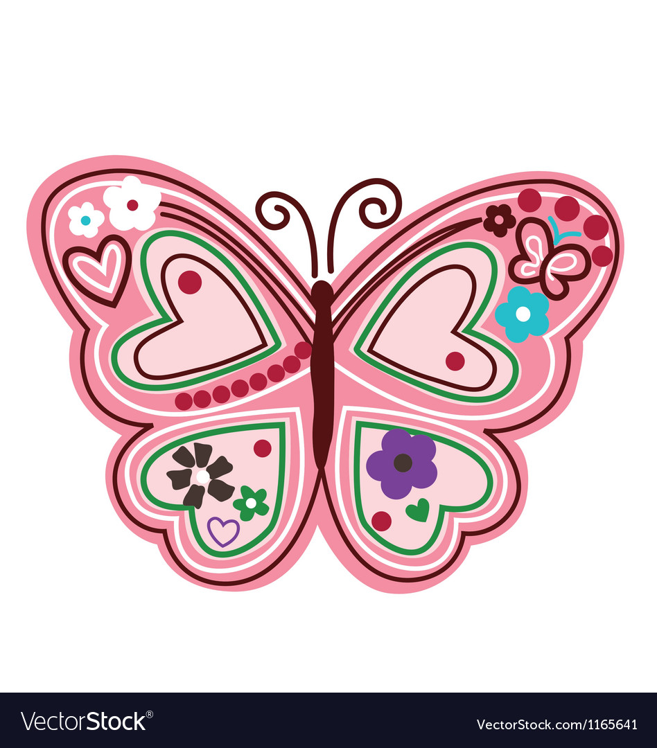 Colourful butterfly with flower vector | Price: 1 Credit (USD $1)