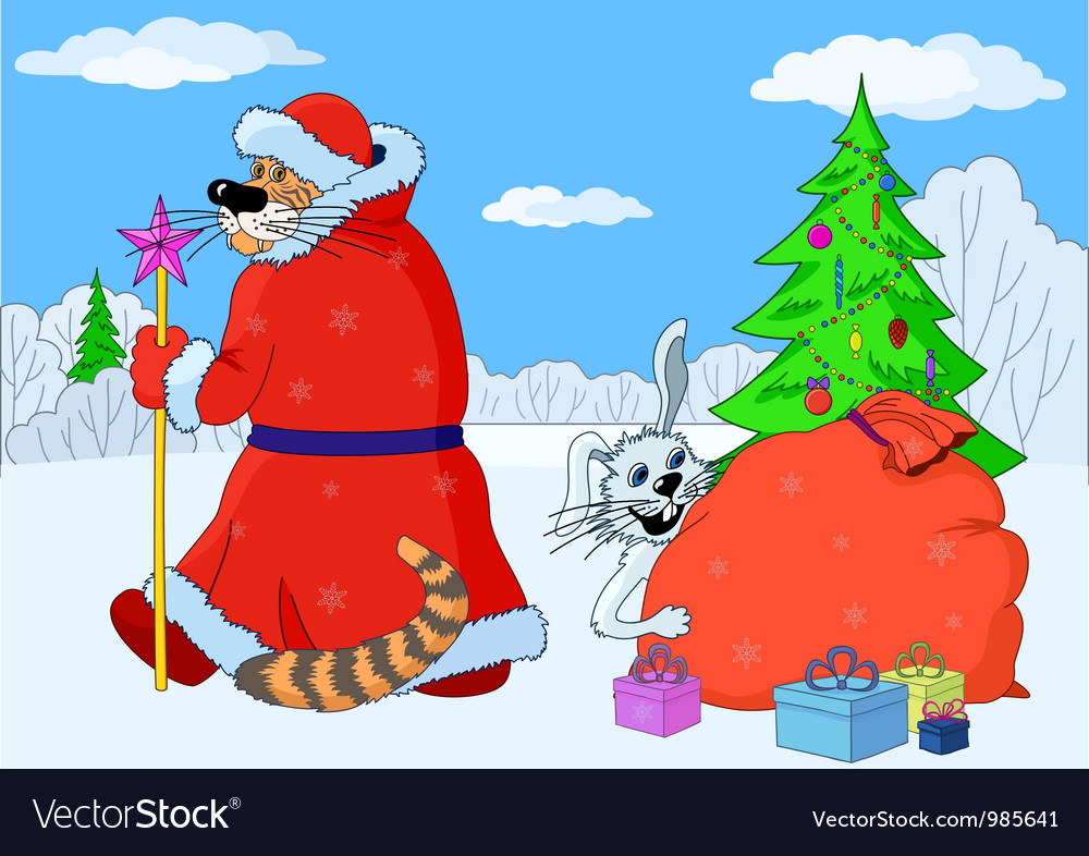 Eastern new year cartoon rabbit and tiger vector | Price: 3 Credit (USD $3)