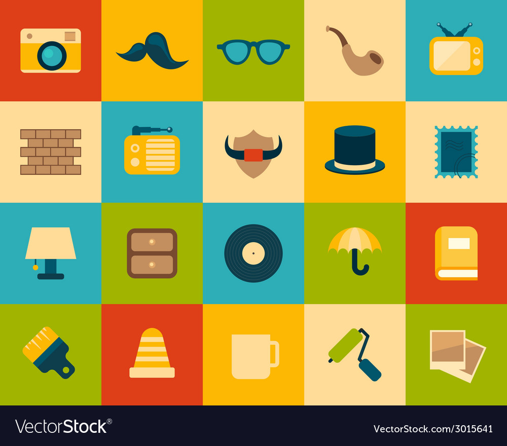 Flat icons set 14 vector | Price: 1 Credit (USD $1)