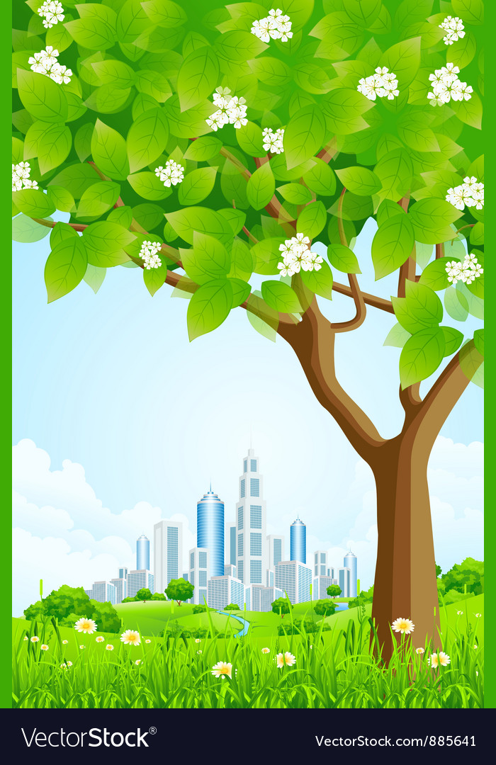 Green background with tree and modern city vector | Price: 3 Credit (USD $3)