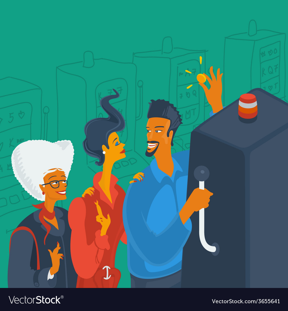 Group of people playing in the casino vector | Price: 1 Credit (USD $1)