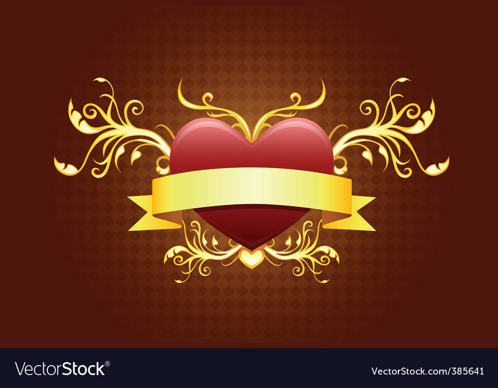 Heart with banner vector | Price: 1 Credit (USD $1)