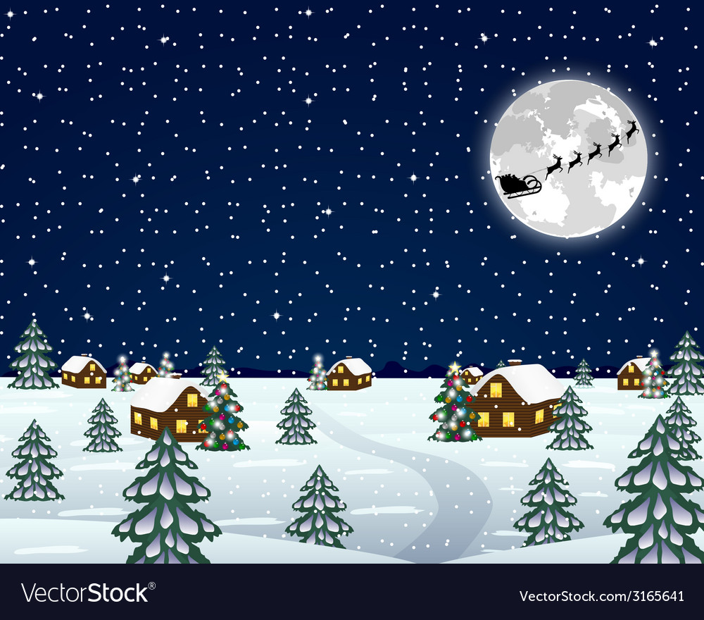 Landscape in the christmas night vector | Price: 1 Credit (USD $1)