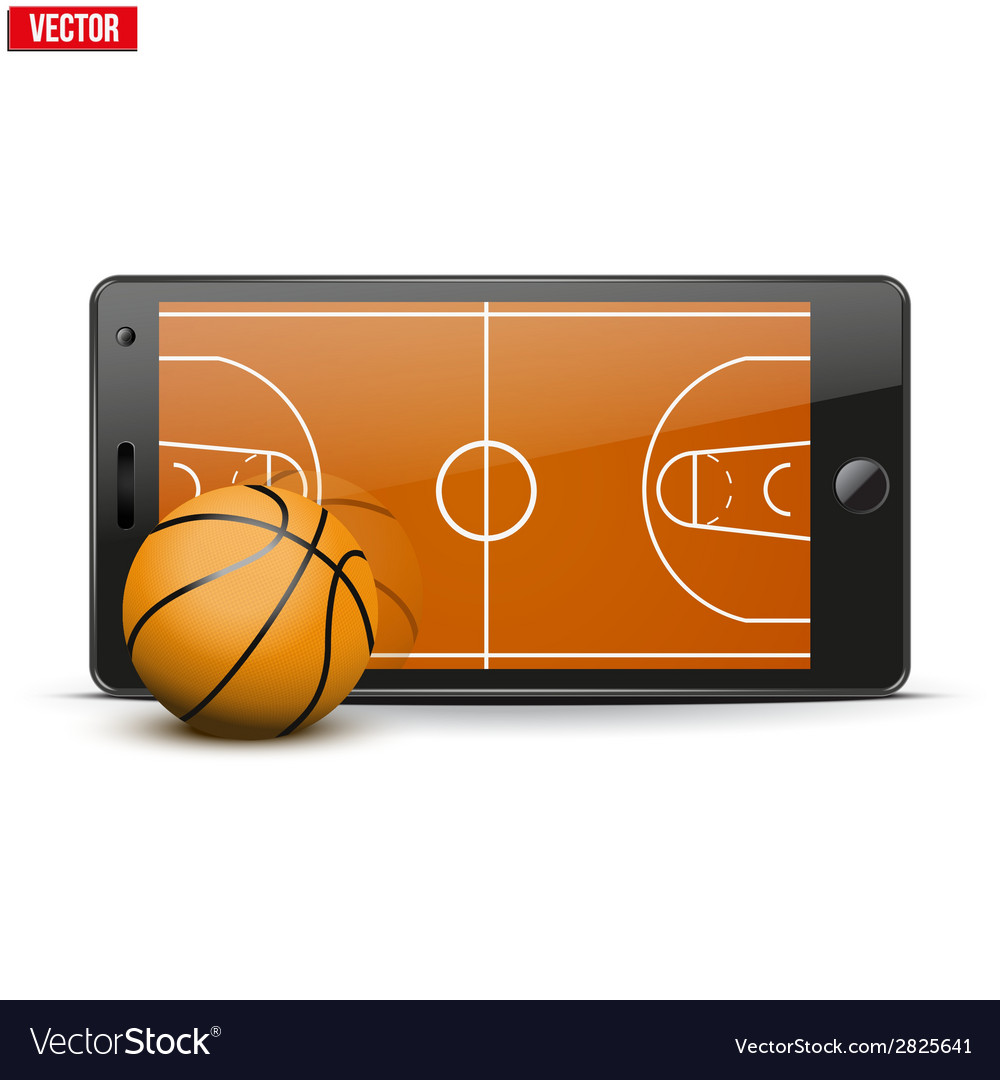 Mobile phone with basketball ball and field on the vector | Price: 1 Credit (USD $1)