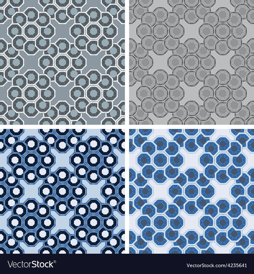 Seamless octagon pattern set vector | Price: 1 Credit (USD $1)