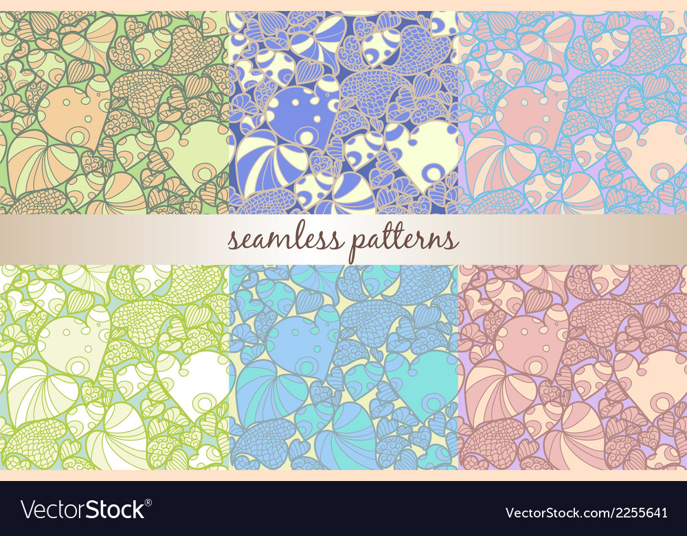 Set of six seamless patterns vector | Price: 1 Credit (USD $1)