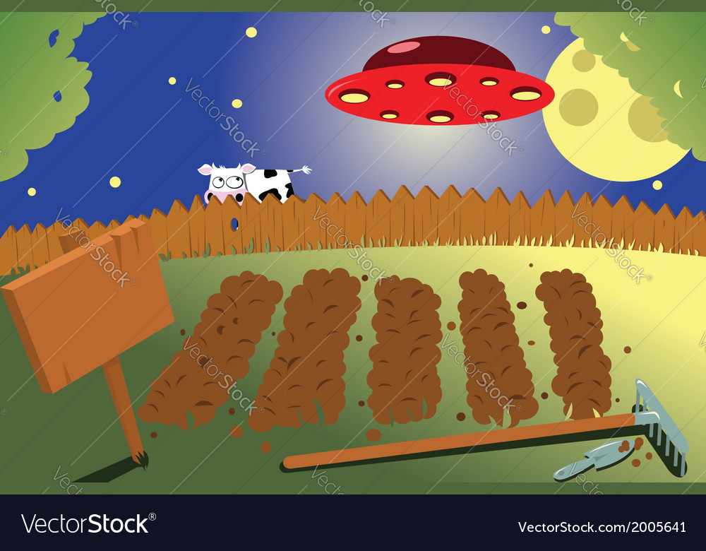 Vegetable garden by night vector | Price: 1 Credit (USD $1)