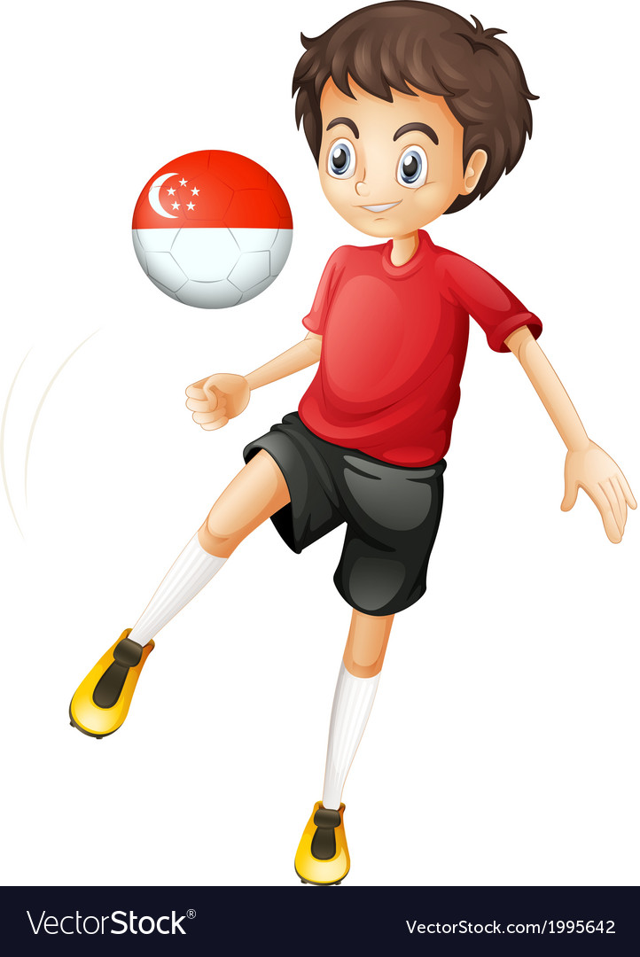 A soccer player with the singapore flag vector | Price: 1 Credit (USD $1)