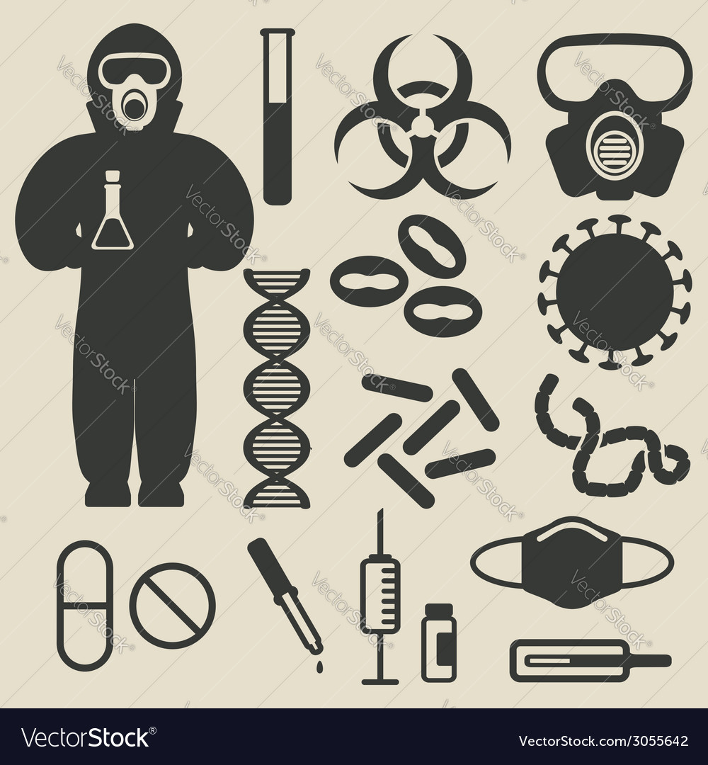 Epidemic protection and medical icons set vector | Price: 1 Credit (USD $1)