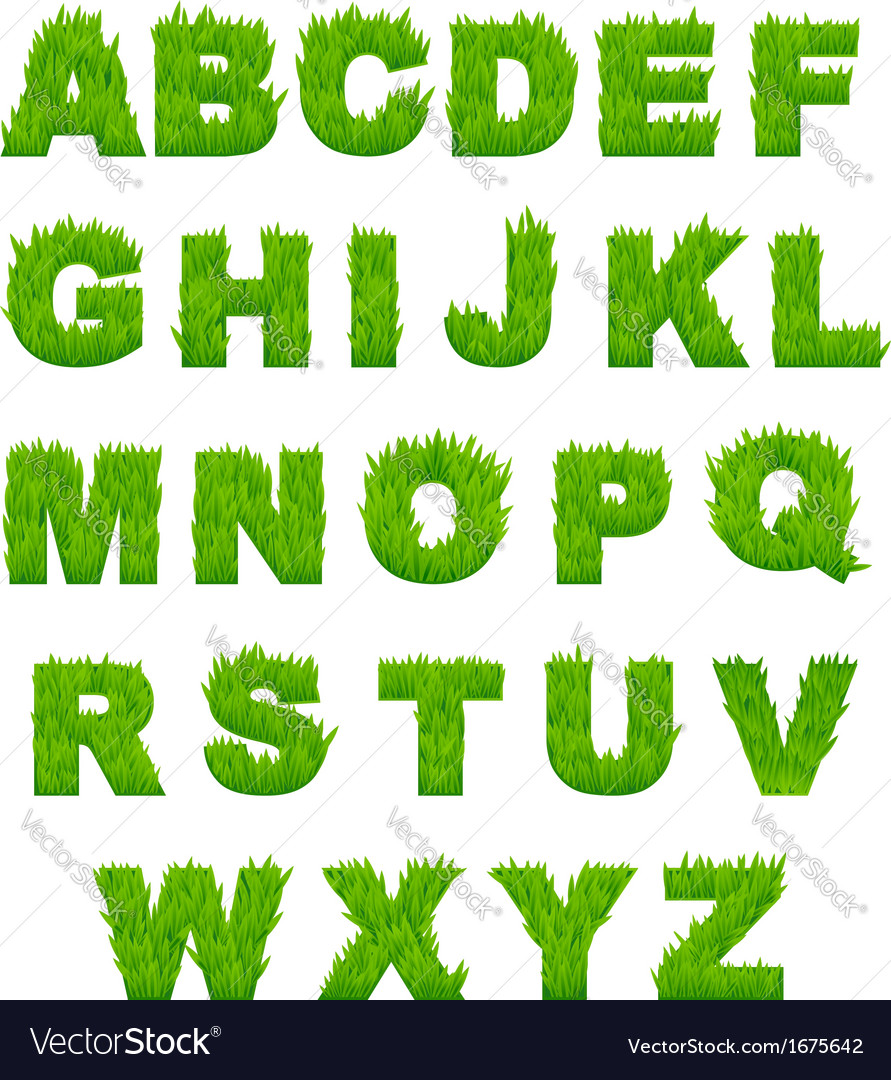 Green grass letters of alphabet vector | Price: 1 Credit (USD $1)