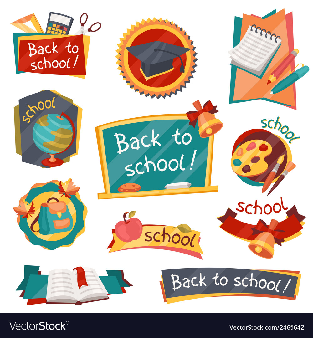 School banners badges with education icons and vector | Price: 1 Credit (USD $1)