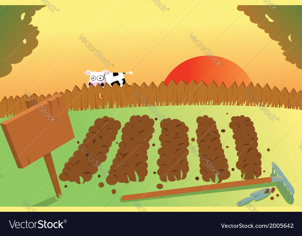 Sunset and cow on vegetable garden vector | Price: 1 Credit (USD $1)