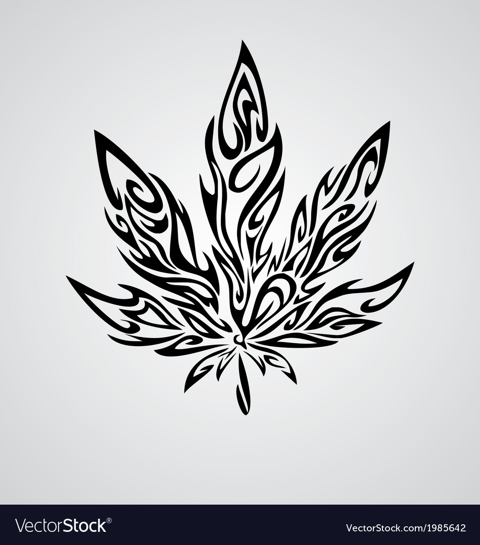Tribal marijuana leaf vector | Price: 1 Credit (USD $1)